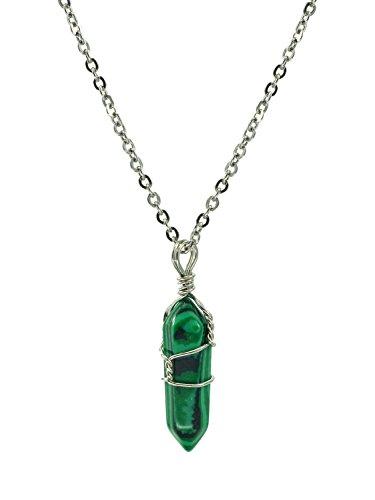 Collar con colgante chakra de malaquita natural cristalino, en punta, de sanación, envuelto en alambre de plata, cadena de 45,7 cm