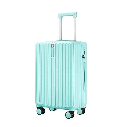 Bagaglio a guscio rigido ABS leggero con 4 ruote girevoli Valigia per viaggio d'affari Trolley Valigia -verde_55 cm.