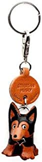 Siberian Husky Leather Dog Small Keychain VANCA Craft-Collectible Keyring Charm Pendant Made in Japan