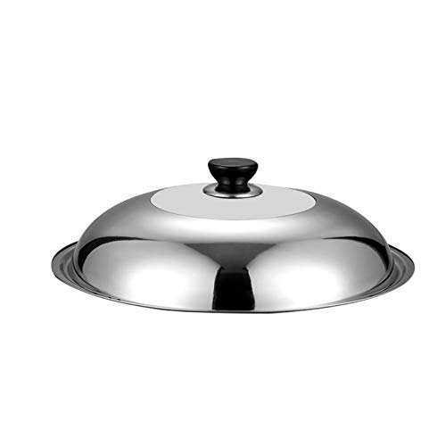 Cubierta de vidrio templado de vapor de acero inoxidable Botón redondo Pan de freír Visible Cocina Pot Cubierta Accesorios de plancha (Color : 34CM)