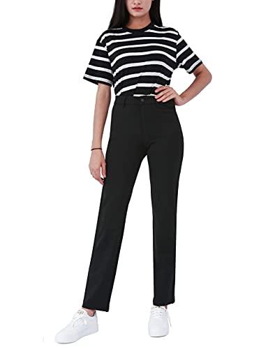 Bamans Damen Schwarz Anzughose Stretch Lange Gerade Beine Hose Mittlere Taille für Business Hause Office(Schwarz,M)