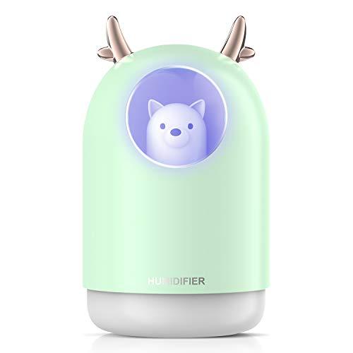 Luftbefeuchter 300ML Aroma Diffuser Vernebler Luftbefeuchter Schlafzimmer Ultraschall Raumbefeuchter Elektrisch Duftlampe mit 7 Wechselnden Farben und Automatischer Abschaltung ohne Wasser-Grün