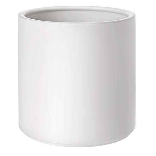 SONGMICS Ceramic Plant Pot, 10-Inch Planter, Flower Pot With Drainage Hole And Removable Plug, White ULCF001WT