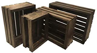 Mowoodwork Vintage Stained-Rustic Wood Crates Set of 4