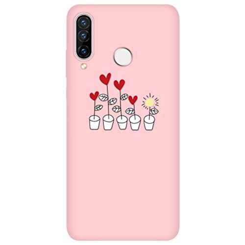 Eouine Capa para celular Huawei P30 Pro, capa de telefone 3D silicone rosa fosco com padrão ultra fino à prova de choque capa de borracha macia bumper para smartphone Huawei P30 Pro, 18