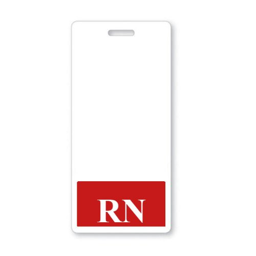 RN Vertical Badge Buddy with Red Border by Specialist ID, Sold Individually