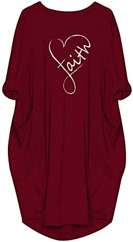 Faith Oversized Midi Tshirt Dress for Women Casual Loose Plus Size Long Sleeve Tunic Dress with product image