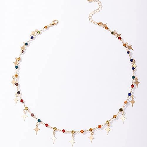 Bohemia Collar con cuentas para mujer, clavícula, estrella, gargantilla, gargantilla para mujeres y niñas