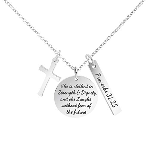 MEMGIFT Christian Necklace Stainless Steel Cross Pendant Jewelry for Women She is Clothed in Strength and Dignity and She Laughs Without Fears of The Future