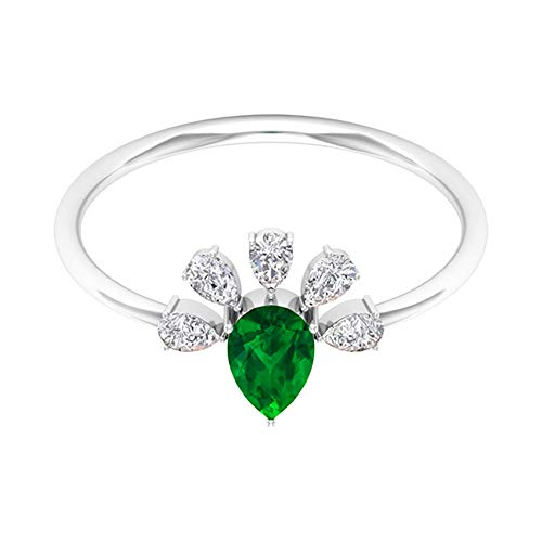 Pear Shaped 3/4 CT Emerald Certified Diamond Cluster Vintage Ring, 46 MM Green May Birthstone Princess Crown Wedding Ring, 32 MM Round Diamond Rings, 14K Yellow Gold, Size:UK Q