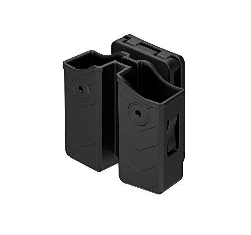 Universal Double Magazine Pouch, 9mm .40 OWB Double Stack Mag Holder Dual Magazine Holster with Adjustable 1.5''-2'' Belt Clip Fit Glock Sig sauer S&W Beretta Browning Taurus H&K Most Pistol Mags