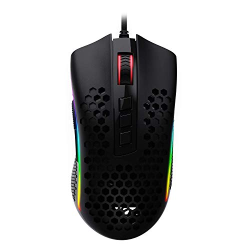 Redragon M808 Storm Lightweight RGB Gaming Mouse, 85g Ultralight Honeycomb Shell - 12,400 DPI Optical Sensor - 7 Programmable Buttons - Precise Registration - Super-Lite Cable (Renewed)