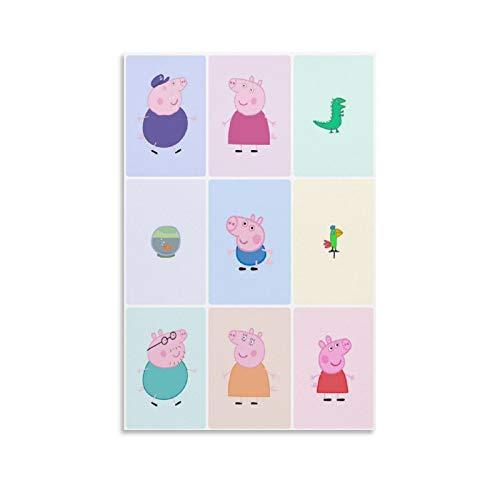 Póster de Peppa Pig y su familia para niños, para decoración de pared, póster de pared, papel pintado para dormitorio, lienzo y arte de pared, impresión moderna para dormitorio familiar, 30 x 45 cm