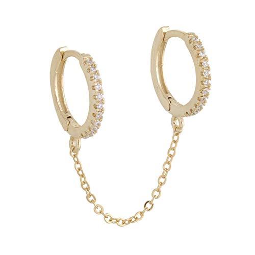 QIN Mini círculo Simple Cadena de Cadena Pendientes Femeninos Personalizada Brillante CZ Femenina Pendientes Diarios de Regalo de Lujo Joyería de Moda