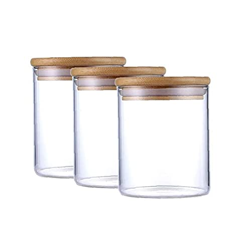 3pcs de Almacenamiento de Alimentos de Cristal Tarro de Almacenamiento Botellas tarros con Tapa de Madera de Cocina Botes para Granos Frijoles té Caramelo-500ml