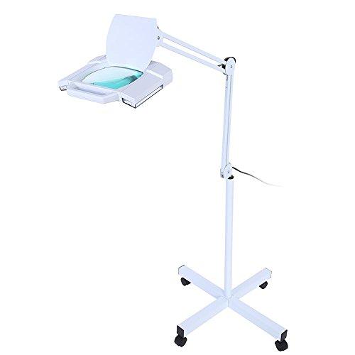 5x LED Lámpara Lupa Lámpara Cosmética Luz con Soporte Flexible Ajustable a Luz Fría Profesional para Estetista Laboratorio, con Luz Fría Blanca Lámpara, 24W, Blanco