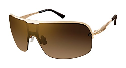 Rocawear R1487 Mod UV Protective Metal Vented Shield Sunglasses | Wear All-Year | A Groovy Gift, 80 mm, Gold & Tortoise