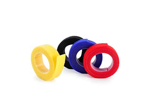 Hicab 4x 1m Klettbandrolle doppelseitig (Flausch & Haken), schwarz/bunt. 16 mm breites Klettband, sehr weiches Flauschband, zuschneidbar, stark in der Befestigung für Kabel als Kabelbinder geeignet