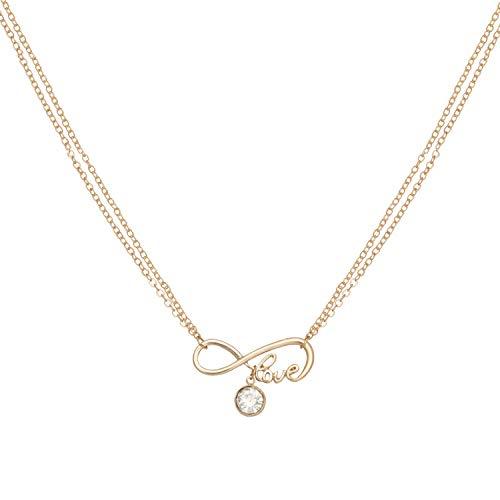 Caramel Jewellery London Collana The Love of Sparkle Infinity Friendship in Oro 18ct Placcato. Cristallo Effetto Chiaro Gemstone Lettering, Collana a Doppia Catena dell'infinito per Le Donne XXcm