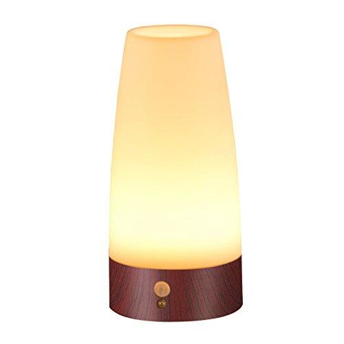 Signstek LED Bewegungsmelder Tischleuchte Nachtlicht LED-Tischlampe mit kabellosem PIR-Bewegungssensor (Rund-Viereckig) …