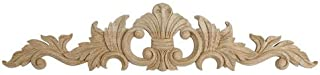 5-1/4 in. x 24 in. x 5/8 in. Unfinished Large Hand Carved North American Solid Red Oak Wood Onlay Acanthus Wood Applique