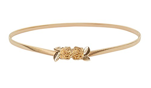 E-Clover Vintage Women Gold Metal Skinny Elastic Rose Buckle Dress Waist Belt (Style1)