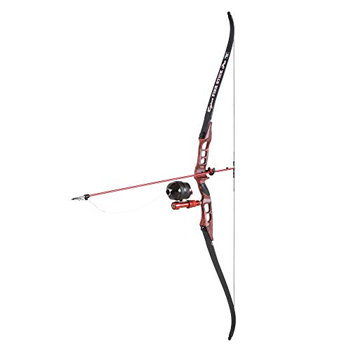 Cajun Bowfishing Fish Stick Pro Take-Down Bowfishing Bow with Spin Doctor Reel and Brush Fire Rest, Red