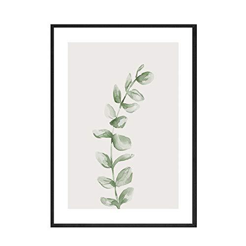 Acuarela hoja flor arte de la pared pintura de plantas carteles e impresiones nórdicos hogar sin marco pintura decorativa en lienzo B 15x20cm