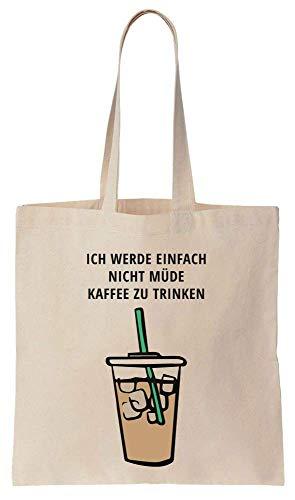 Finest Prints Ich Werde Einfach Nicht Müde Kaffee Zu Trinken Cotton Canvas Tote Bag