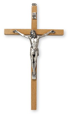 26cm Beech Wood Wall Hanging Crucifix Cross Silver Jesus 10574