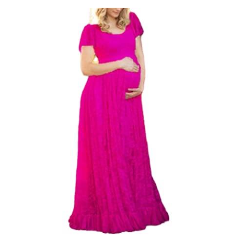 N\P Mujeres Falda Blanca Maternidad Fotografía Props Encaje Embarazo Ropa Maternidad, Rosa Roja, 40
