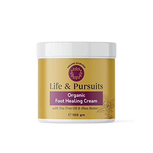 Life & Pursuits Organic Foot Cream for Dry Cracked Feet - 3.38 Oz Softening Moisturizer and Heel Damage Repair Ayurvedic Balm with Shea Butter & Tea Tree Oil