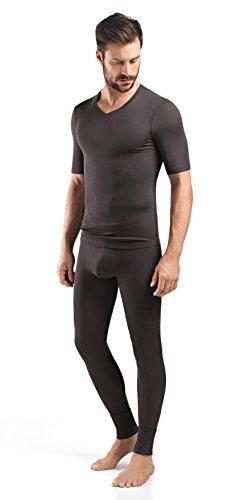 Hanro Herren Silk Cashmere Short Sleeve V-Neck Shirt Pyjama-Oberteil (Top), Dusty Night, Groß
