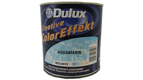 Dulux Creative Color Effekt, Halbtransparente Effektfarbe, Farbton Aquamarin / 1 Liter