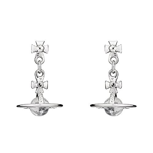 FPOJAFVN Saturn Transparent Crystal Earrings Drop Stud Earrings Rhinestone Punk Earrings for Women Jewelry Boho Vintage Earrings,Silver