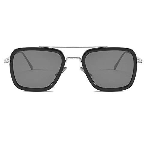 ESjasnyfall Película con las mismas gafas de sol Caja de moda europea y americana con las mismas gafas de sol Gafas de tendencia para hombres (marco plateado)