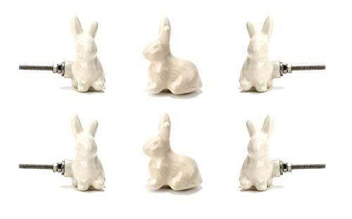 White Ceramic Rabbit Knob Set of 6 Vintage Kitchen Cabinet Cupboard Door Knobs Dresser Furniture Wardrobe and Drawer Pull by Perilla Home