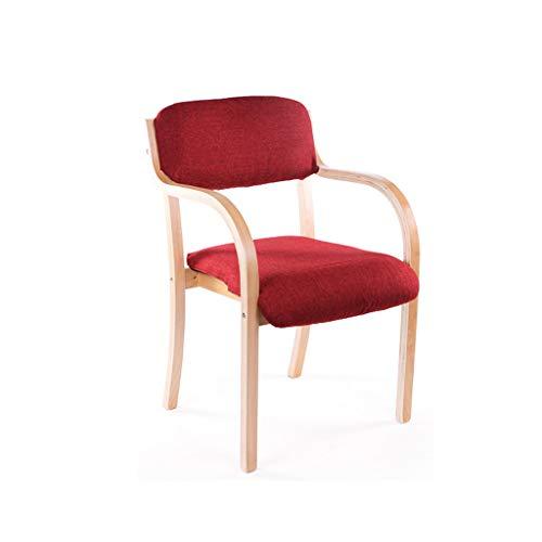 CKH Stoel, eetkamerstoel, eenvoudige losse bureaustoel, armleuningstoel, computerstoel, creatieve houten stoel, rood kussen