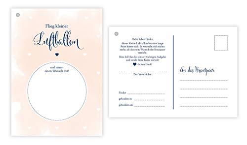 50 Ballonflugkarten für Hochzeit, gelocht und extra leicht zum Weitfliegen. Wetterfeste Ballonkarten mit Wünschen zur Hochzeit für einen extra langen Flug. Weitflugkarten im Postkartenformat DIN A6