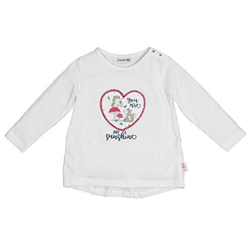 Salt & Pepper Baby-Mädchen Woodland Sunshine Herz Pailletten Langarmshirt, Weiß (Off-White 011), (Herstellergröße: 74)