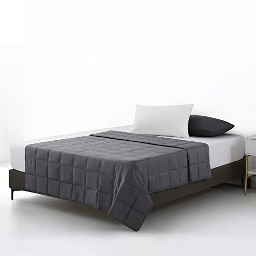 EDILLY Weighted Blanket (Dark Grey, Twin 15lbs)