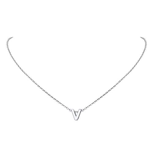 FindChic v Necklace Initial Necklace for Women Girls Small Initial Letter Necklaces