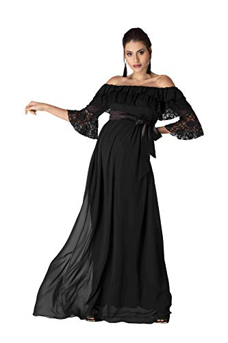 M.M.C. Diana Umstandskleid mit Volant und Spitze - Schwangerschaft Maxikleid aus Spitze Schwangerschaftskleid Abendkleid Cocktailkleid für Hochzeit Standesamt (Schwarz, 42)