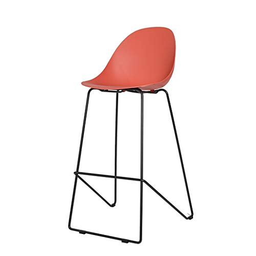 Comif-tabouret de bar Nordic Plastic barkruk Casual High Stool, moderne minimalistische ontvangstcafe, PP-curvenkussen, zwart smeedijzeren frame (meerdere optioneel)