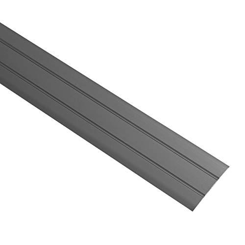 Gedotec Perfil de transición de aluminio autoadhesivo plano   Listón de suelo con ancho de 37 mm   Perfil de compensación negro anodizado   Listón de cobertura de 200 cm   1 pieza – Perfil de suelo