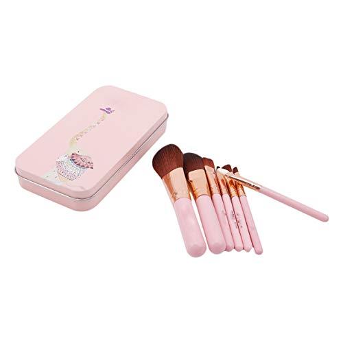 EJY 7Pcs Maquillage Brosses Doux Fibre Fondation Fard À Paupières Brosse Cosmétiques Outils(rose)