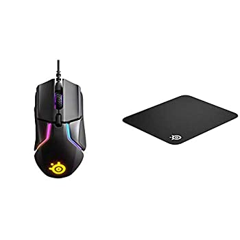 SteelSeries Rival 600 Gaming Mouse - 12,000 CPI TrueMove3+ Dual Optical Sensor - 0.5 Lift-Off Distance - Weight System - RGB Lighting & QcK Gaming Surface - Medium Cloth