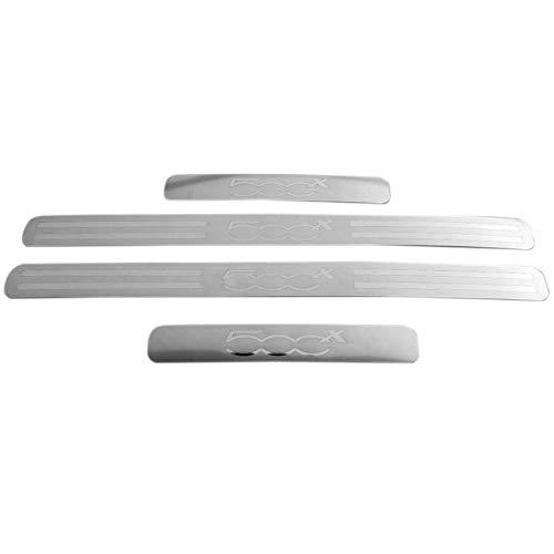 SODIAL per 500x Accessori 2014-2017 Adesivo per Auto nel Acciaio Inox battitacco battitacco battitacco protettore