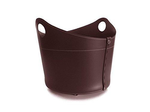 Cadin Mini: Porte bûches en Cuir de Couleur Brun Foncé, Panier Sac à bûches, Chariot à Bois, Panier à granulés, Idée Cadeau, Made in Italy, Design Firestyle®.