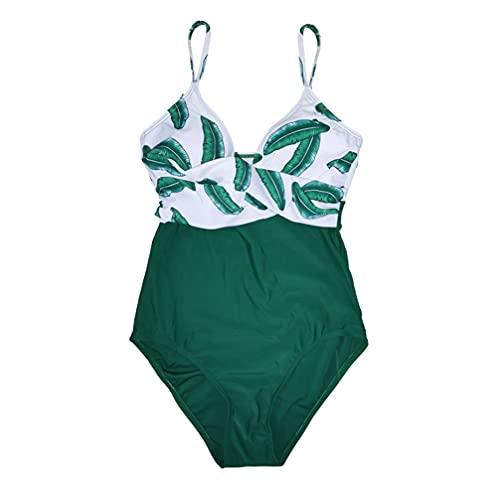 SOIMISS One- Piece Swimsuit Mulheres Havaiano Folha Verde Terno de Natação Da Praia Do Verão Swimwear Swimwear Maiô